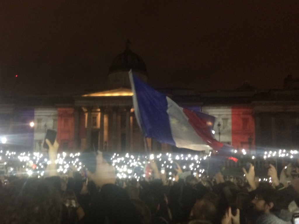 Paris rally in Trafalgar Square